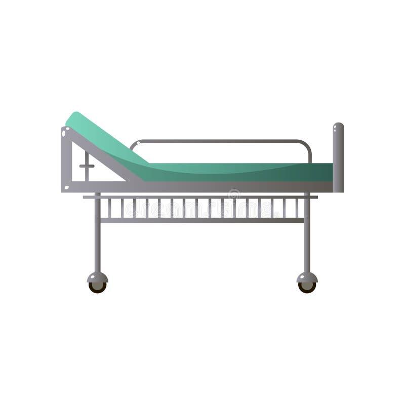 Cama de a?o do hospital ortop?dico alto com colch?o verde ilustração stock