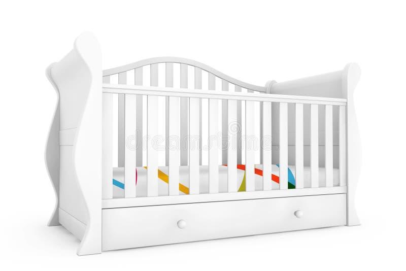 Cama de bebé blanca representación 3d imagenes de archivo