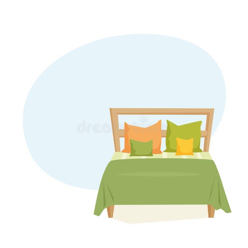 Cama de casal e descanso ilustração stock