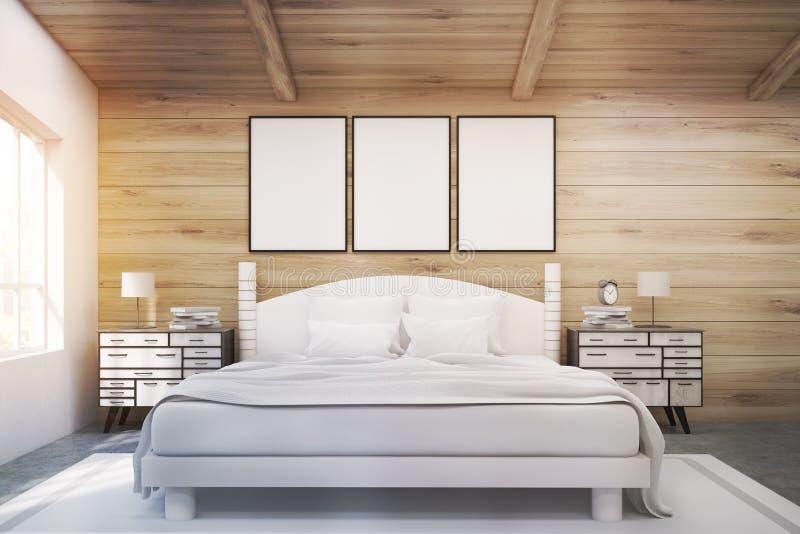 Cama de casal em uma sala de madeira com os cartazes, tonificados ilustração royalty free