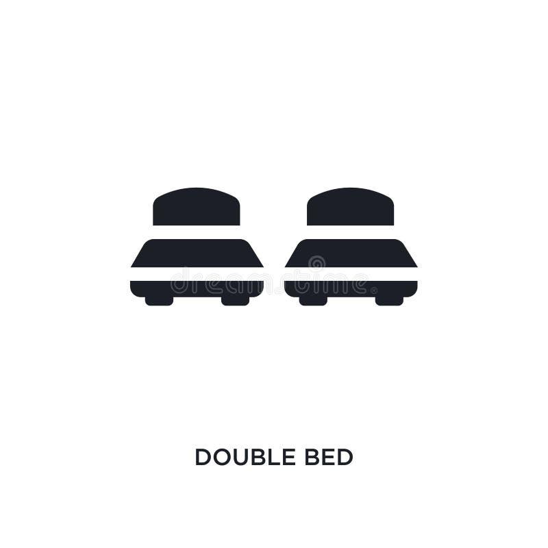 cama de casal preta ícone isolado do vetor ilustração simples do elemento dos ícones do vetor do conceito da acomodação cama de c ilustração do vetor