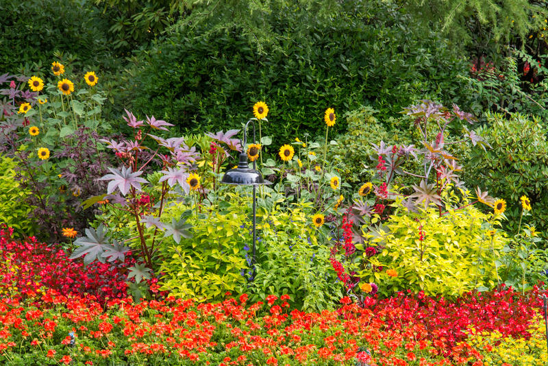 Cama de flor em jardins de Butchart, Victoria, Canadá imagens de stock royalty free