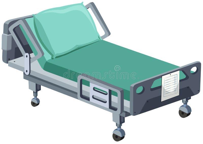 Cama de hospital con las ruedas ilustración del vector