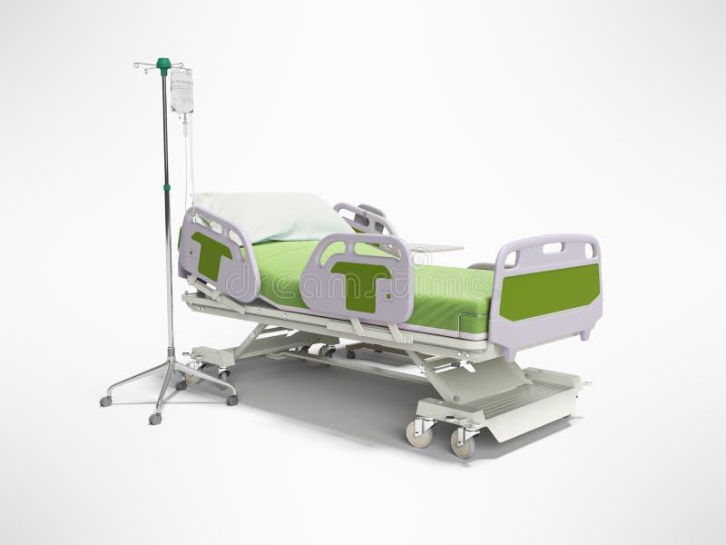 Cama de hospital del verde del concepto semi automática con teledirigido y el goteo en el trípode 3d rendir en fondo gris con la  stock de ilustración