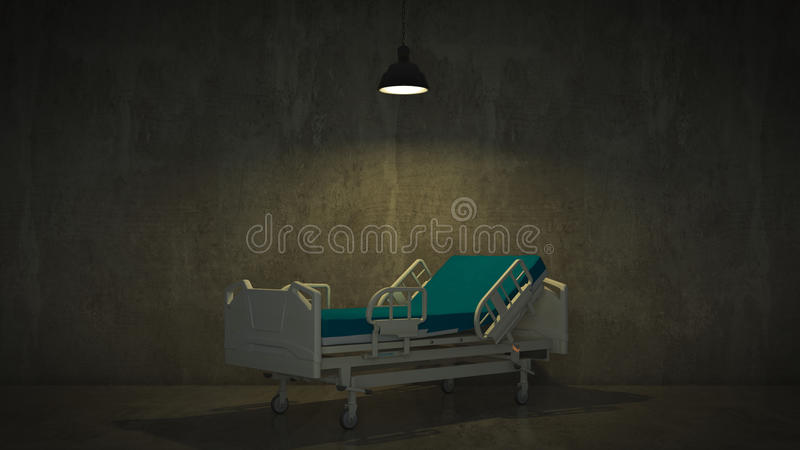 Cama de hospital en un cuarto libre illustration