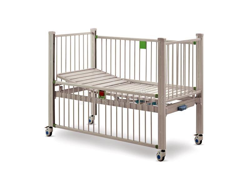 Cama de hospital móvil bajo fondo blanco stock de ilustración