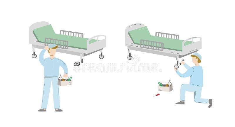 Cama de hospital quebrada antes e depois da manutenção Ilustração do vetor isolada no branco ilustração do vetor