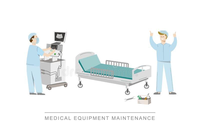 Cama de hospital quebrada antes e depois da manutenção Ilustração do vetor isolada no branco ilustração stock