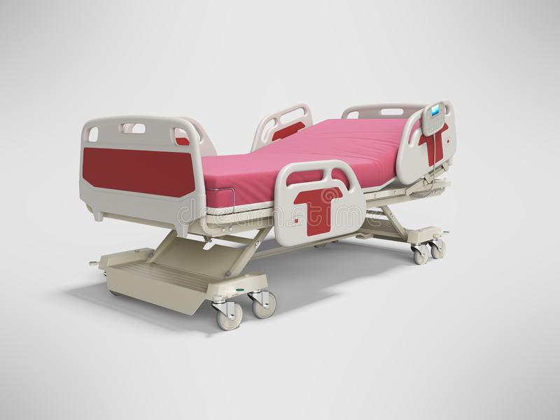 Cama de hospital vermelha 3d isolado semi automático do conceito para render no fundo cinzento com sombra ilustração stock