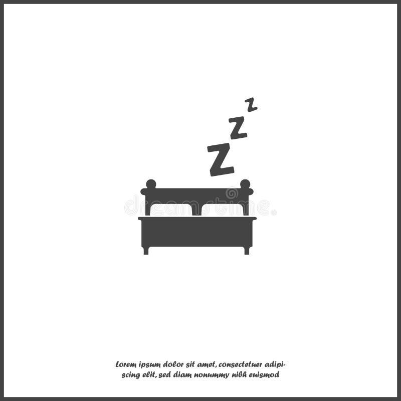 Cama de la imagen del vector, sueño de la noche e icono de la cama del vector del resto en el fondo aislado blanco libre illustration