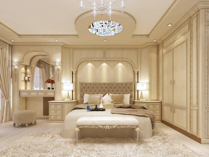 Cama de lujo en un dormitorio neoclásico grande con el lugar decorativo ilustración del vector