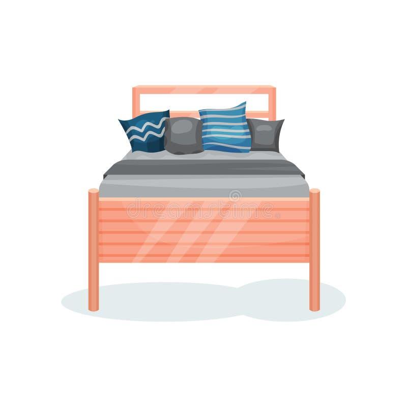 Cama de madera con la manta y las almohadas grises, muebles del dormitorio, ejemplo del vector del elemento del diseño interior e libre illustration