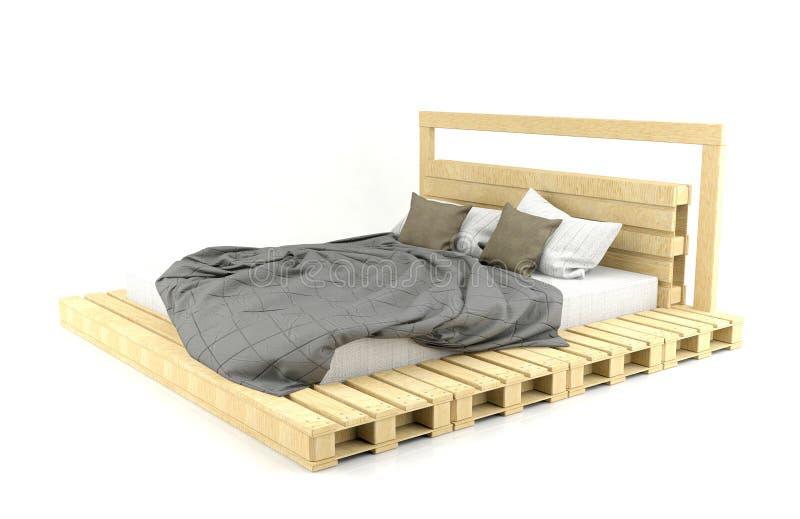 Cama de madera moderna y del desv n del dise o en el fondo - Cama moderna diseno ...