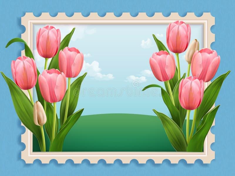 Cama de tulipa elegante ilustração royalty free