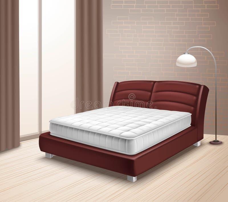Cama del colchón en el interior casero libre illustration