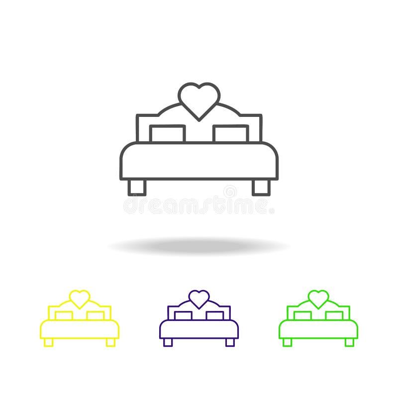cama del icono multicolor del amante s El elemento de la boda, línea fina icono multicolor se puede utilizar para la web, logotip libre illustration