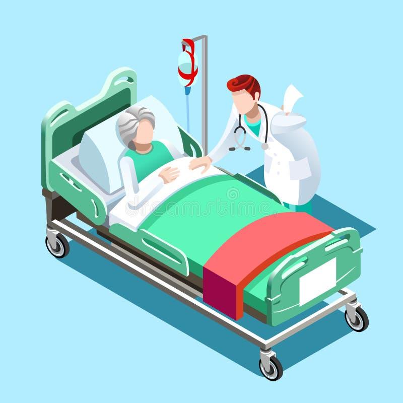 Cama del paciente médico y gente del doctor Talking Vector Isometric