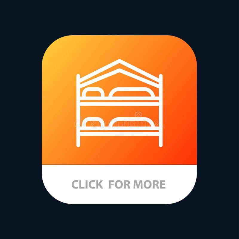 Cama, dormitorio, servicio, botón móvil del App del hotel Android y línea versión del IOS stock de ilustración