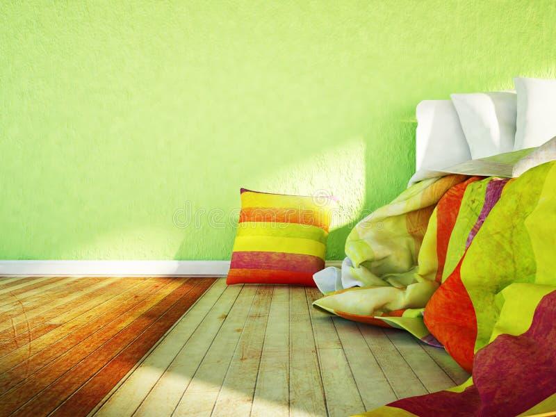 A cama e os descansos coloridos ilustração do vetor