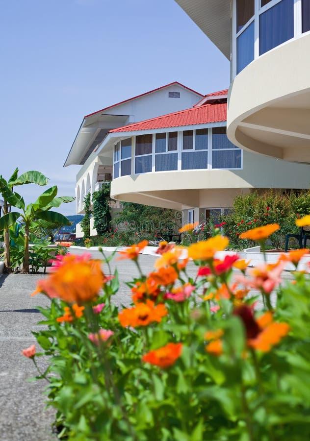 Cama florescida perto do hotel no recurso na tarde imagens de stock royalty free