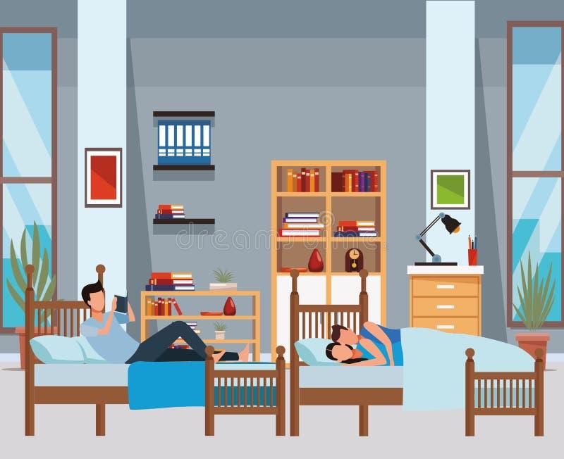 Cama gemela del coodle del dormitorio y de los pares libre illustration