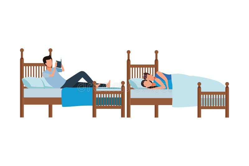 Cama gemela del coodle del dormitorio y de los pares ilustración del vector