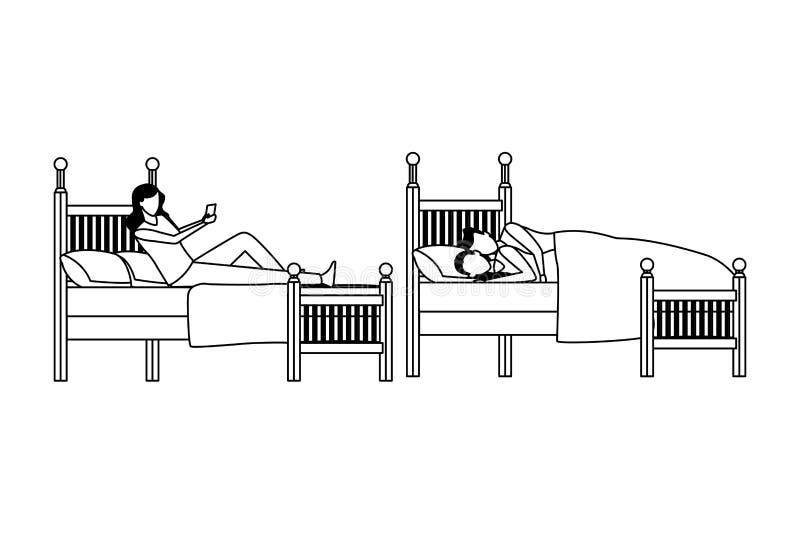 Cama gemela del coodle del dormitorio y de los pares en blanco y negro libre illustration