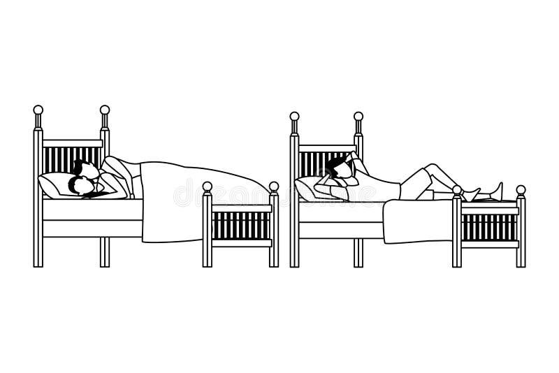 Cama gemela del coodle del dormitorio y de los pares en blanco y negro ilustración del vector