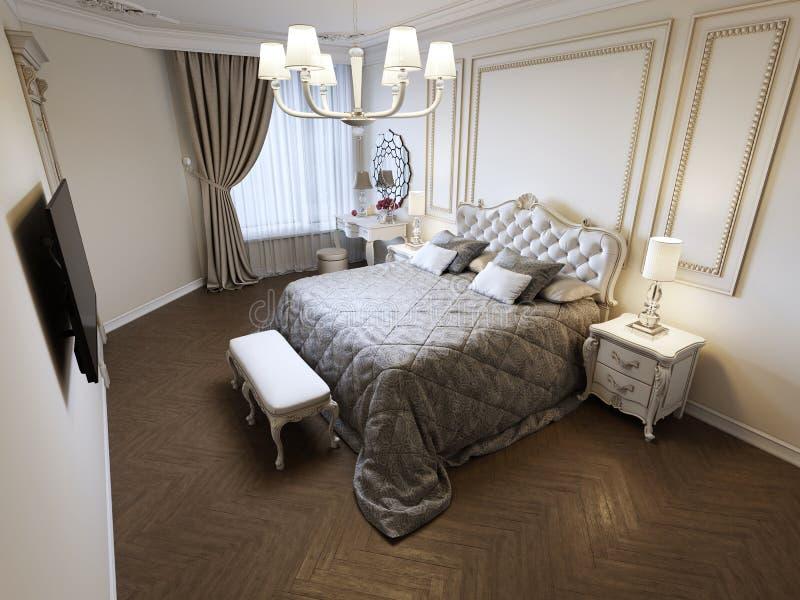 Cama gigante en dormitorio brillante con la ventana grande stock de ilustración