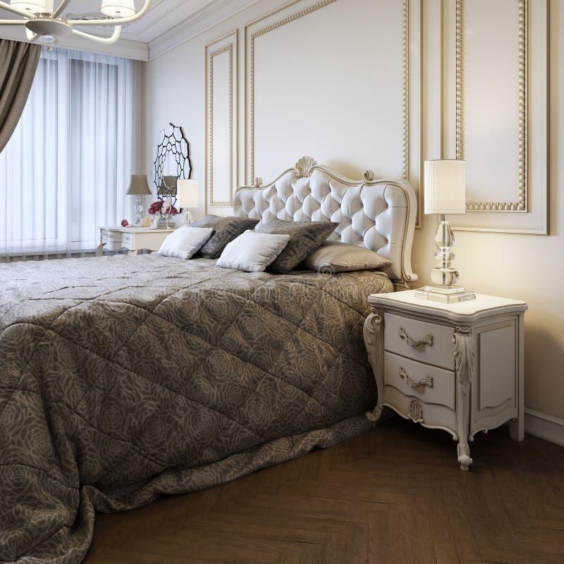 Cama gigante en dormitorio brillante con la ventana grande libre illustration