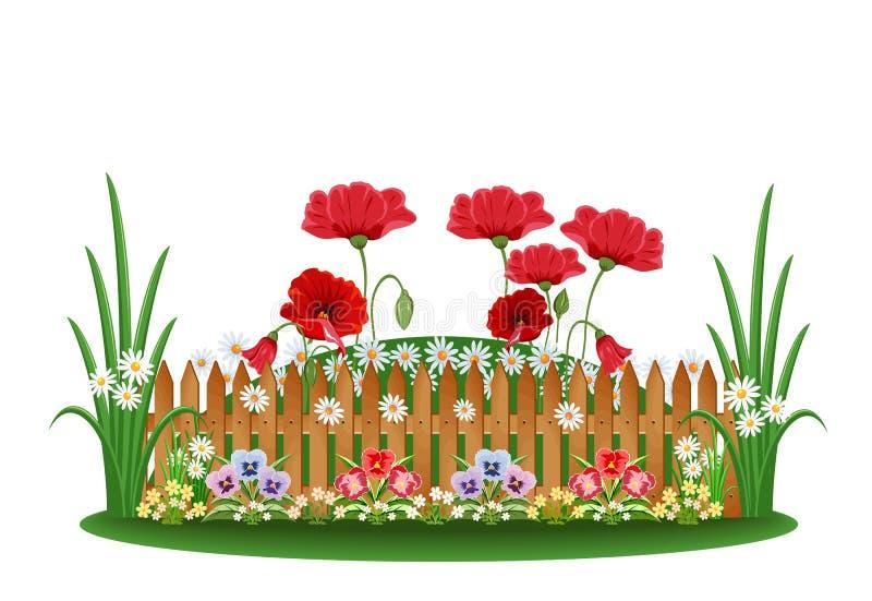 Cama hermosa con diversas flores ilustración del vector