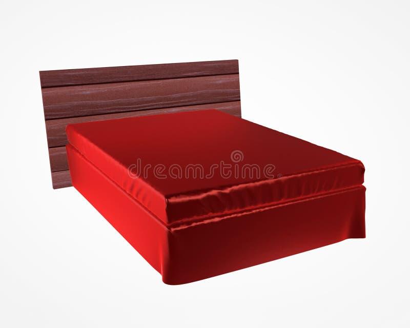 Cama luxuosa do cetim vermelho no fundo cinzento ilustração stock