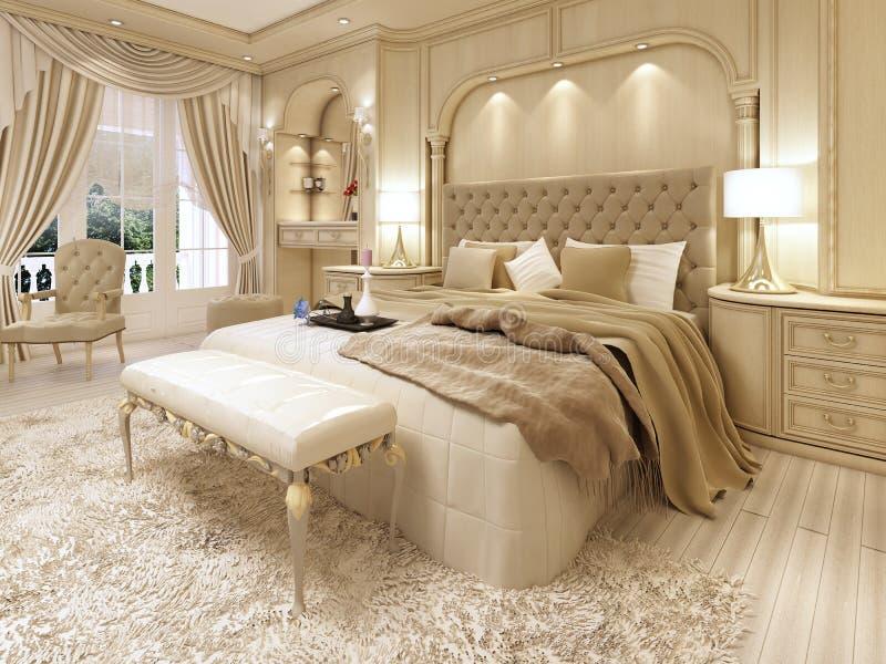 Cama luxuosa em um grande quarto neoclássico com ameia decorativa ilustração royalty free