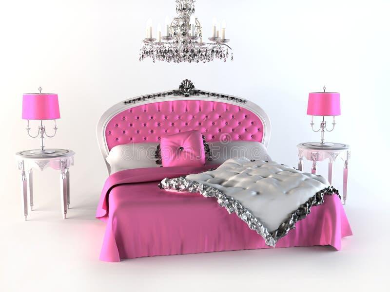 Cama luxuosa. quarto cor-de-rosa ilustração stock