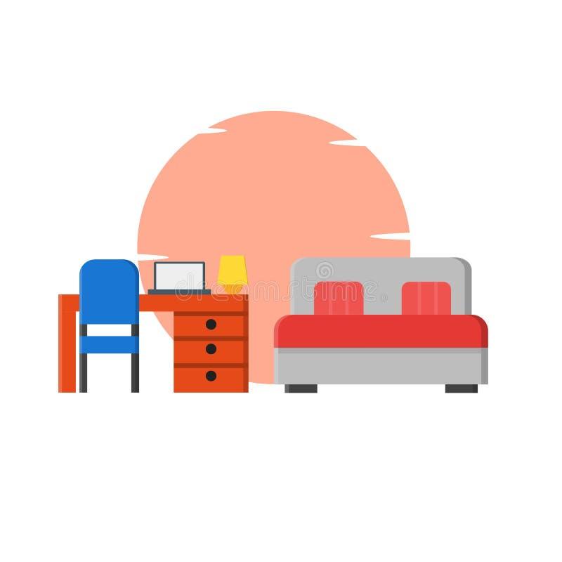 Cama matrimonial, ejemplo del escritorio del estudio en casa - vector ilustración del vector
