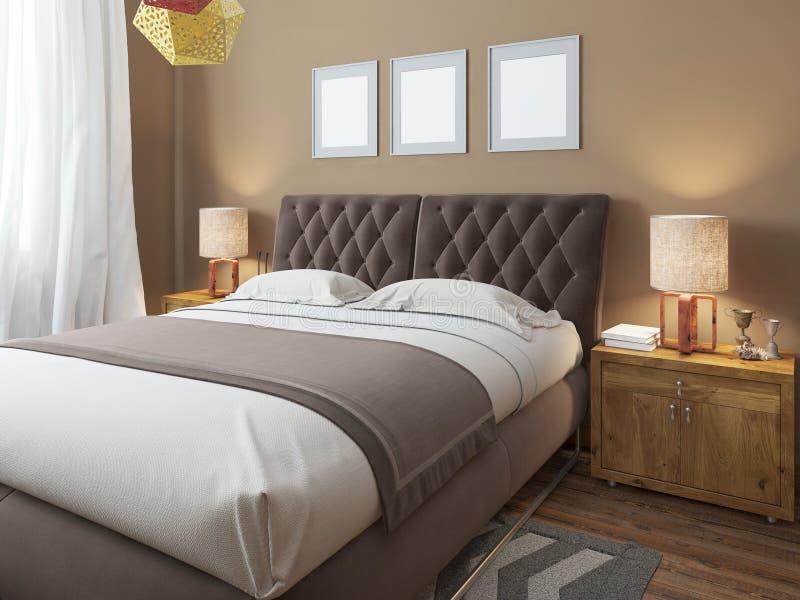 Cama matrimonial moderna grande de lujo en el estilo del desván del dormitorio ilustración del vector