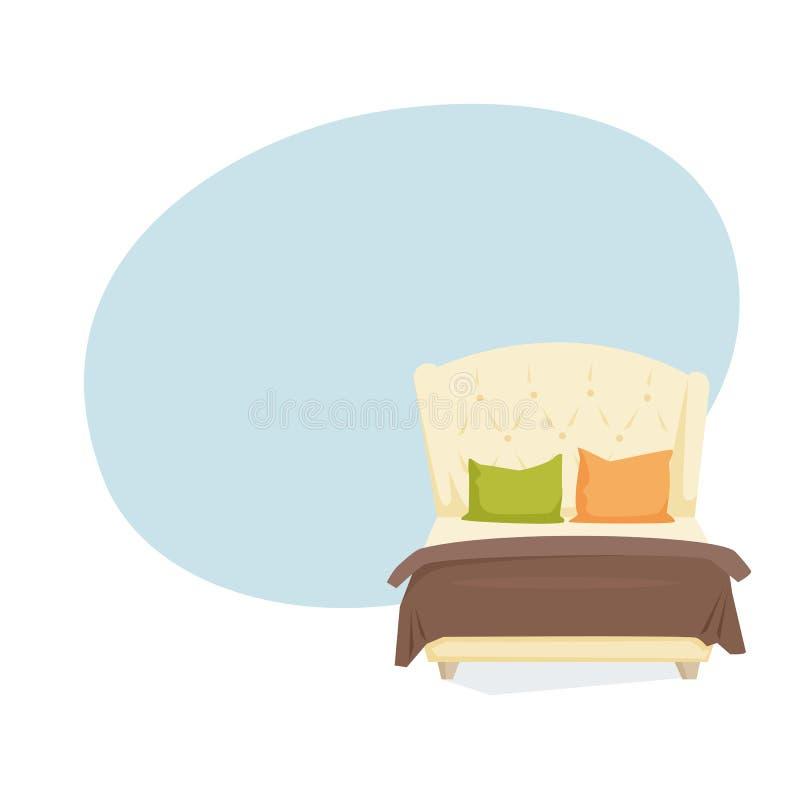 Cama matrimonial y almohada ilustración del vector