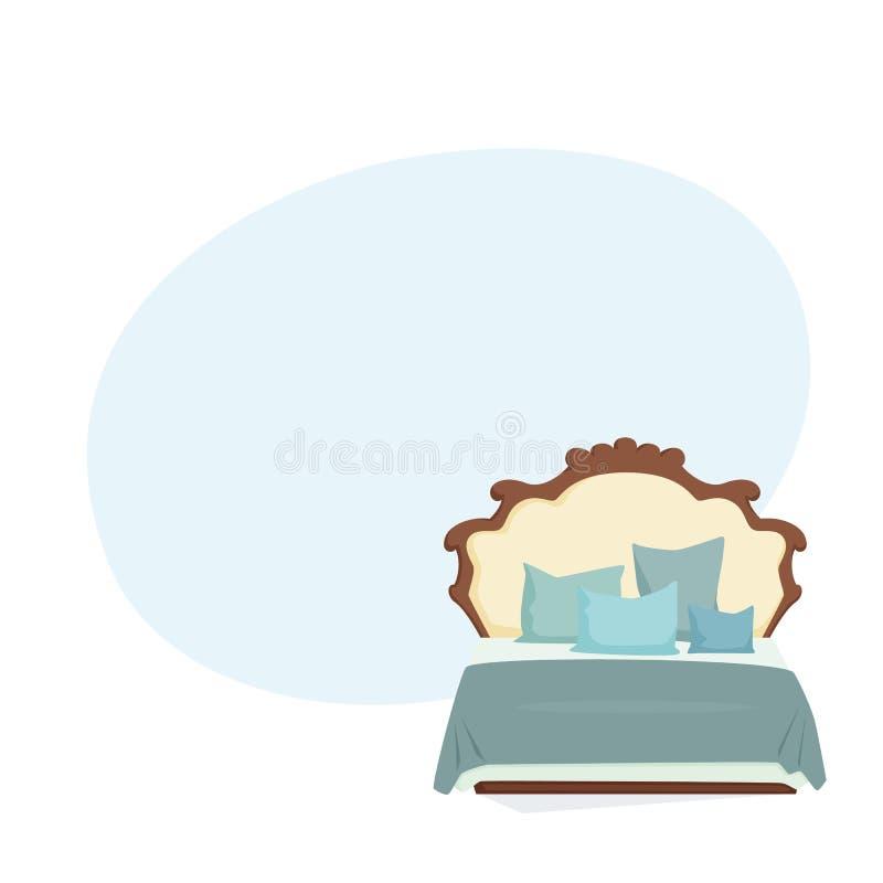 Cama matrimonial y almohada libre illustration