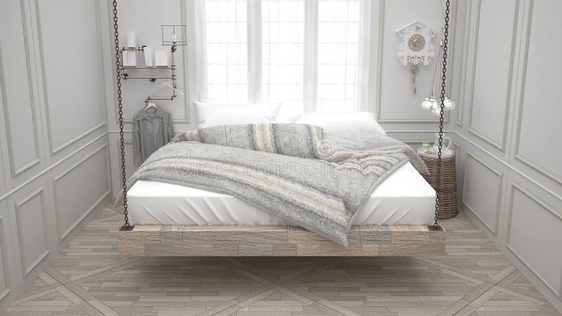 Cama reciclada, calesa de madera colgante, dormitorio escandinavo, blanco fotografía de archivo libre de regalías