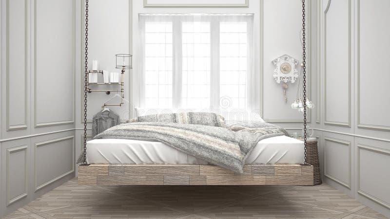 Cama reciclada, calesa de madera colgante, dormitorio escandinavo, blanco fotos de archivo