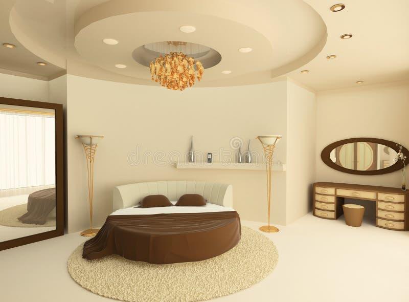 Cama redonda com um teto suspendido no quarto ilustração royalty free