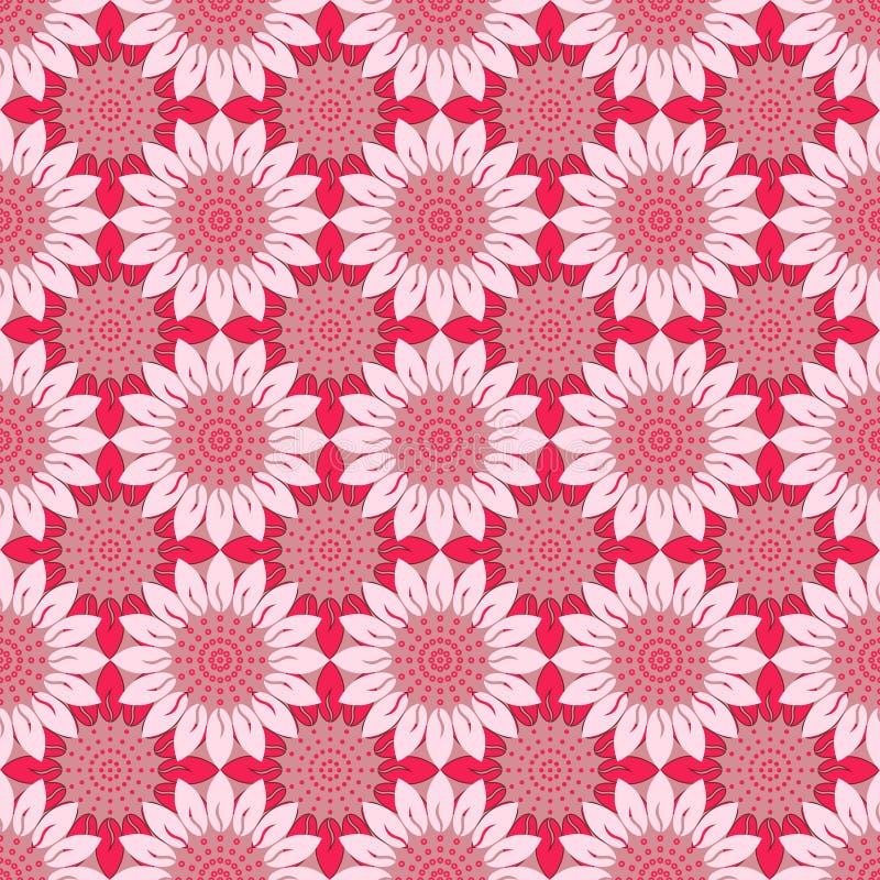 Cama romántica y floral del estampado de flores Modelo de flor rosado Modelo sin fin libre illustration