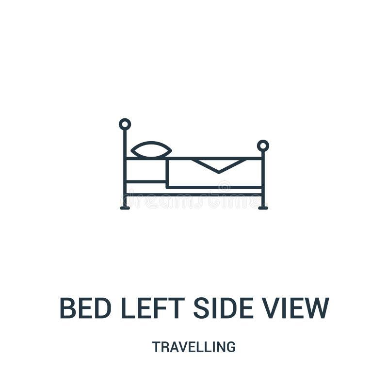 a cama saiu do vetor do ícone da vista lateral da coleção de viagem A linha fina cama saiu da ilustração do vetor do ícone do esb ilustração royalty free