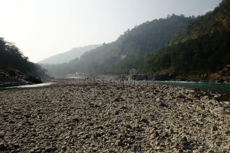 Cama seca del río Ganges fotografía de archivo libre de regalías