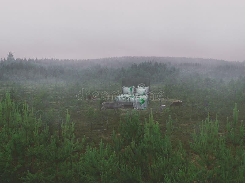 Cama surreal sonhadora na natureza com cervos selvagens imagem de stock