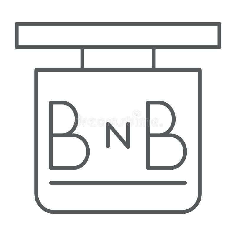 Cama - y - línea fina icono del desayuno, hotel y sueño, muestra del letrero, gráficos de vector, un modelo linear ilustración del vector