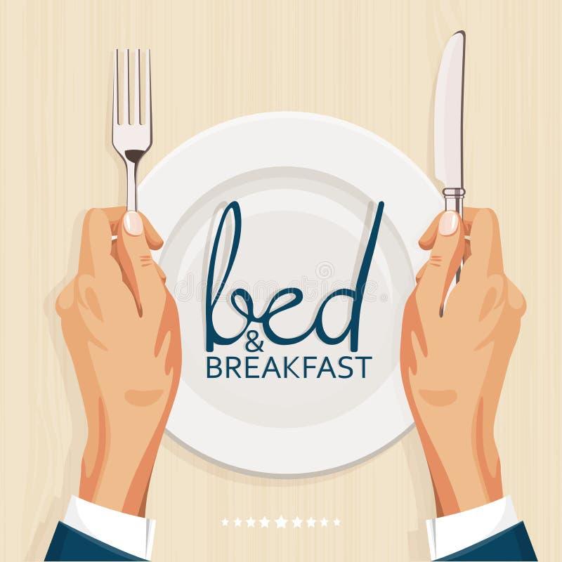 Cama - y - plantilla de la cubierta del menú del desayuno libre illustration