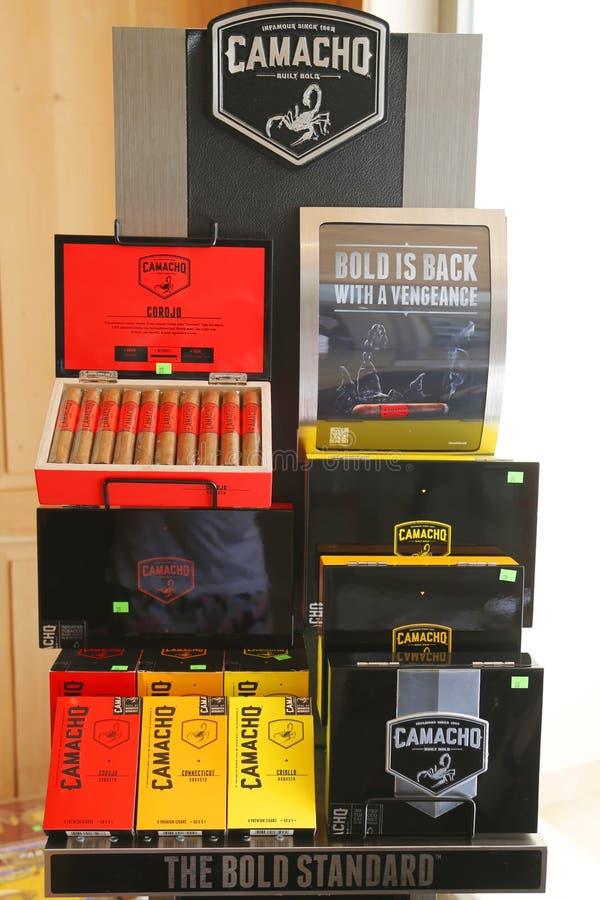 Camacho Cigars on display at cigar shop in Punta Cana stock image