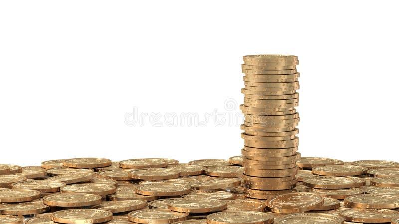Camada de moedas douradas com a pilha de moedas ilustração royalty free