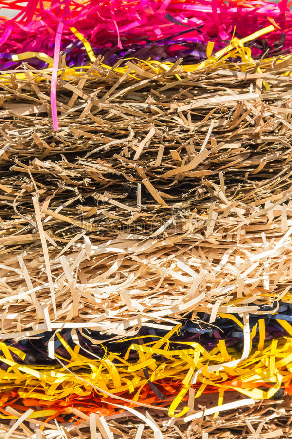 Camadas coloridas de fitas da palha fotografia de stock royalty free